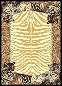 Double Tiger Border Area Rug