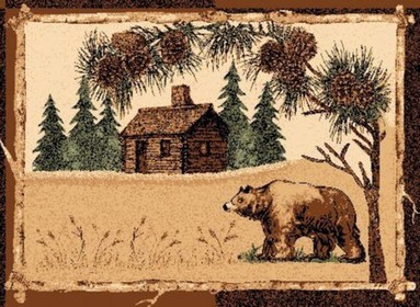 Grizzly Bear Cabin Lodge Rug