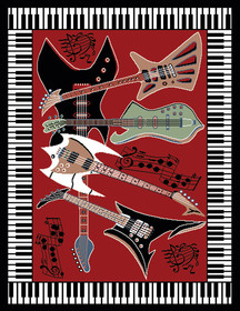 Modern Guitar-Piano Border Area Rug