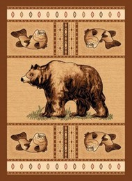 Grizzly Bear Salmon Lodge Rug
