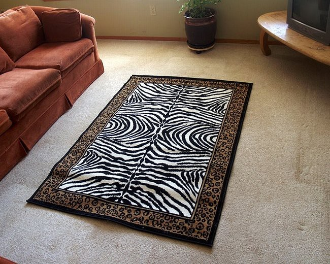 Zebra Print Leopard Border Area Rug