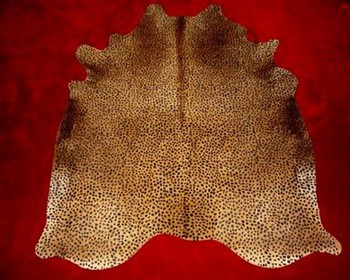Cheetah Print Cowhide on Caramel Floor Rug