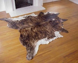 Dark Brindle-White Cowhide Rug