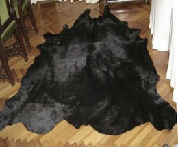 Black Cowhide Leather Rug