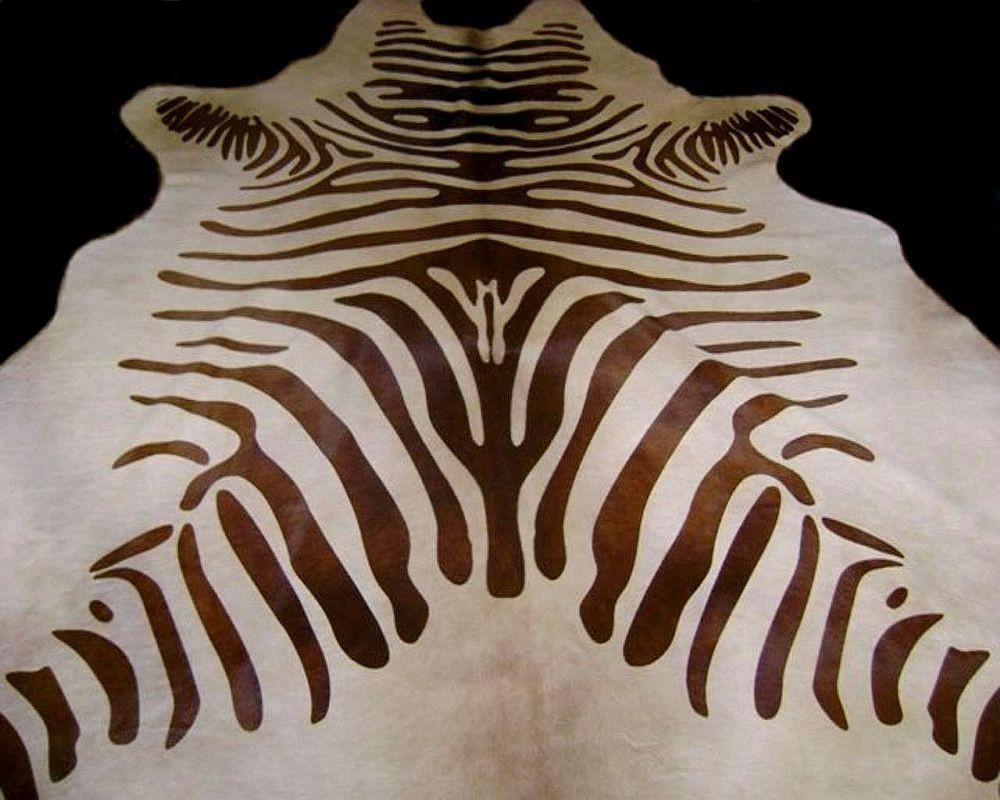Zebra Cowhide Rug Dark Brown And Light Beige Standard