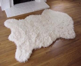 Faux Alaskan Polar Bear Rug Ivory