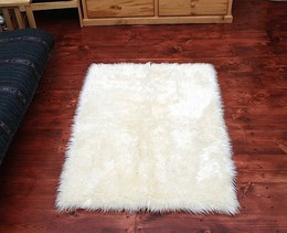 Faux Fur Area Rug White