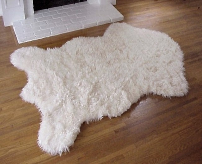 Faux Sheep Skin Rug Ivory Fake Sheep Skin Rug Ivory