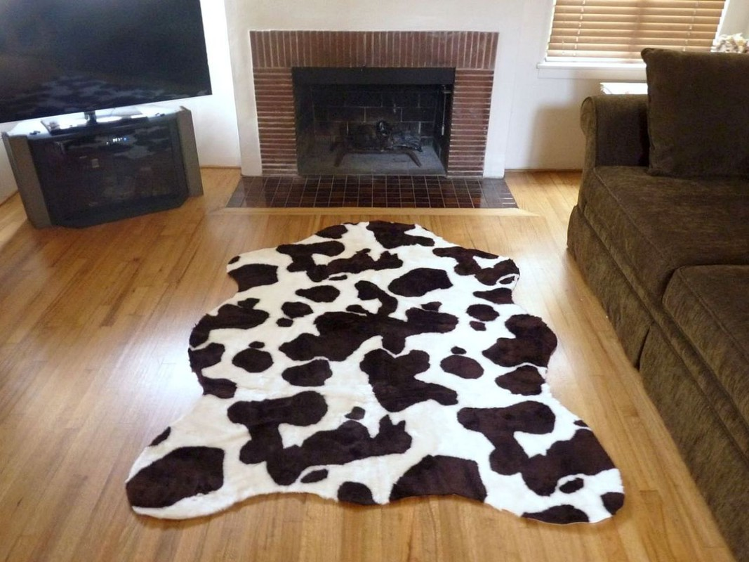 Super Plush Brown White Faux Cow Hide Rug From France