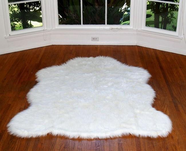White Faux Polar Bear Rug : Polar Bear Without Fur : Fake Bear Rug