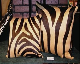 Zebra Cowhide Pillow Brown-Beige