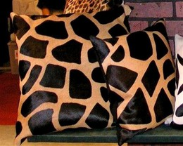 Giraffe Cowhide Pillow Brown-Beige