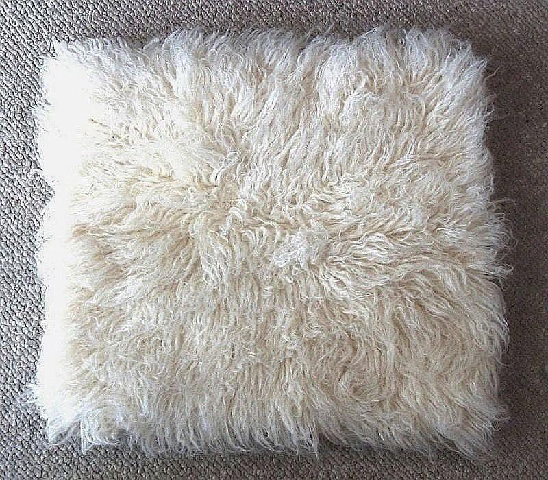 Flokati Pillow 18 X 18 White Shag Wool Pillow Accent