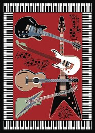 Guitar Piano-Border Area Rug