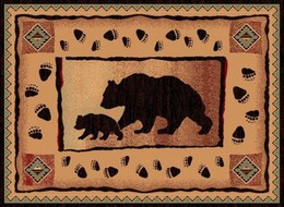 Bear-Cub Footprints Lodge Rug