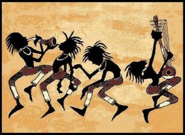 African Tribal Dance Area Rug