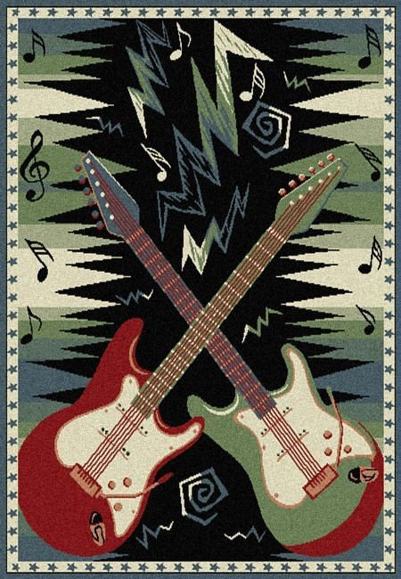 Dueling Guitars Area Rug Cool Electric Guitar Theme Rug