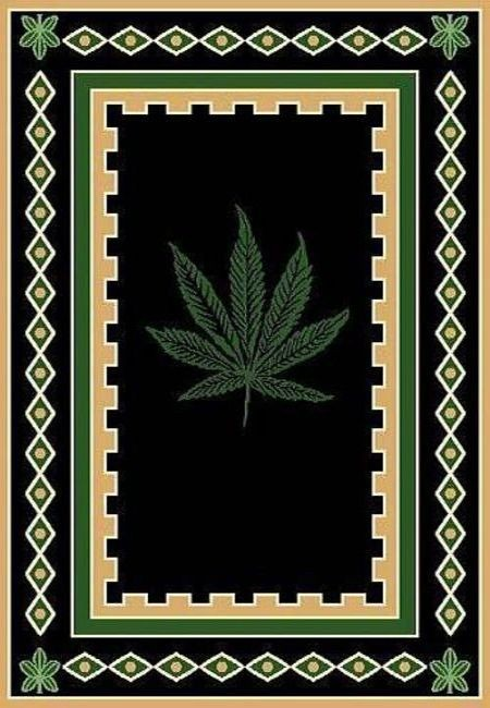 Mary Jane Pot Rug With Border Marijuana Rug Pot Rug