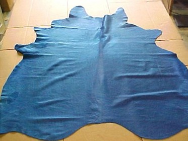 Caribbean Blue Cowhide Leather Rug