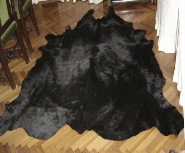 Natural Dyed Solid Black Cowhide Rug All Black Cowhide Rugs