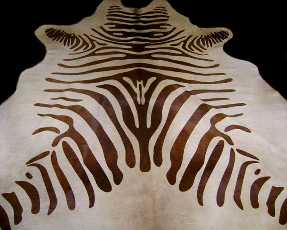 Zebra Cowhide Rug Dark Brown And Light Beige Standard
