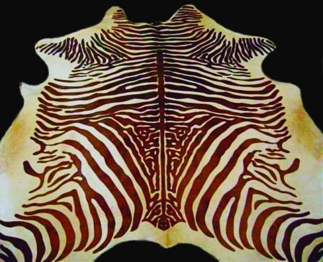 Zebra Cowhide Rug Dark Brown And Light Beige Spinal