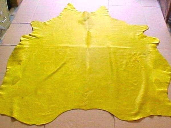 Natural Dyed Solid Yellow Cowhide Rug Yellow Dyed Cowhide