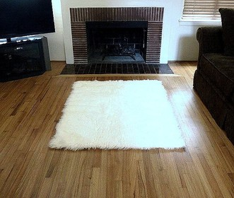 Faux Fur Area Rug Ivory