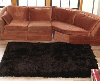 Faux Fur Area Rug Dark Brown
