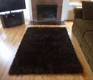Super Plush Brown Faux Fur Area Rug