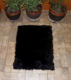 Faux Fur Area Rug Black
