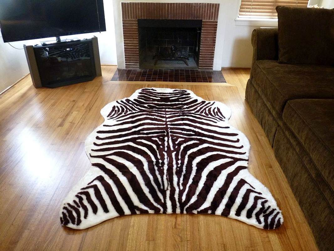 Super Plush Brown White Faux Zebra Hide Rug From France