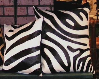 Zebra Cowhide Pillow Black-White