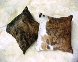 Dark Brindle-White Cowhide Pillows