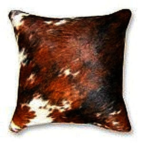 Natural Exotic Tricolor Cowhide Decorative Throw Pillow